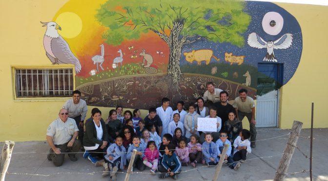 Mural realizado por niños de la Reserva de Biosfera de Ñacuñán